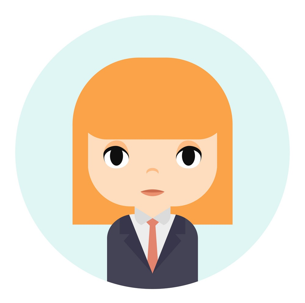 Woman Avatar with Smiling face. Female Cartoon Character. Businesswoman. Beautiful Ginger People Icon. Office Worker.