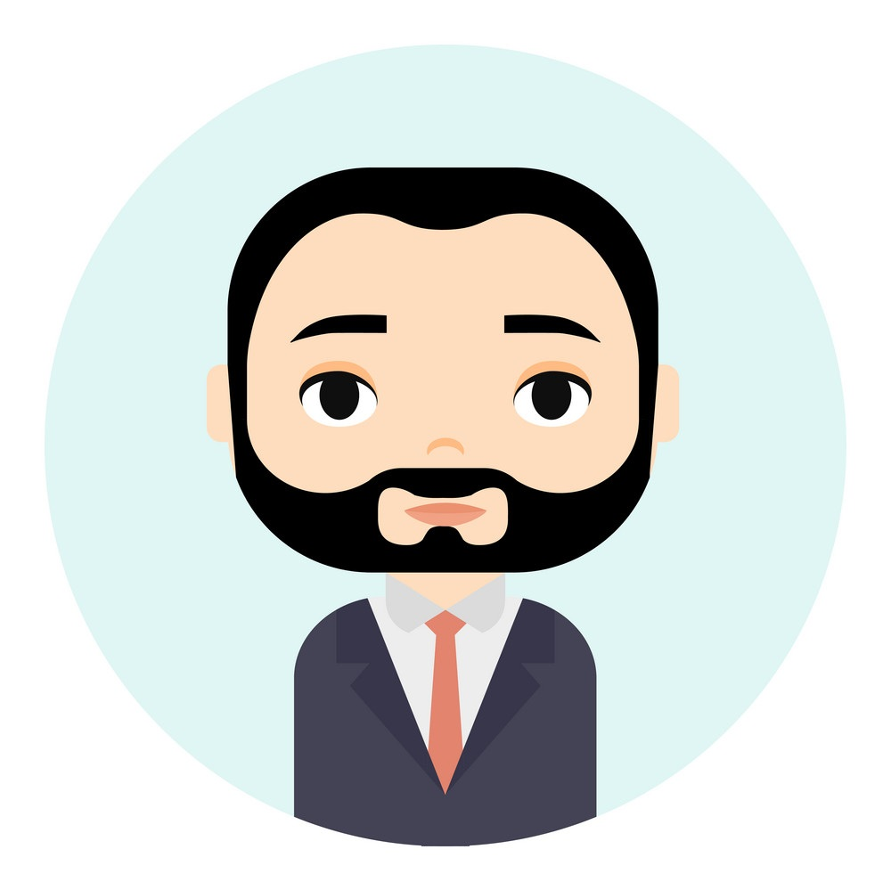 Man Avatar with Smiling faces. Male Cartoon Character. Businessman. Handsome People Icon. Office Workers.